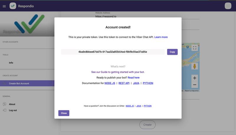 Una vez que haya creado un bot de Viber, recibirá el token del bot de Viber, que podrá utilizar para conectarse a un CRM de mensajería.