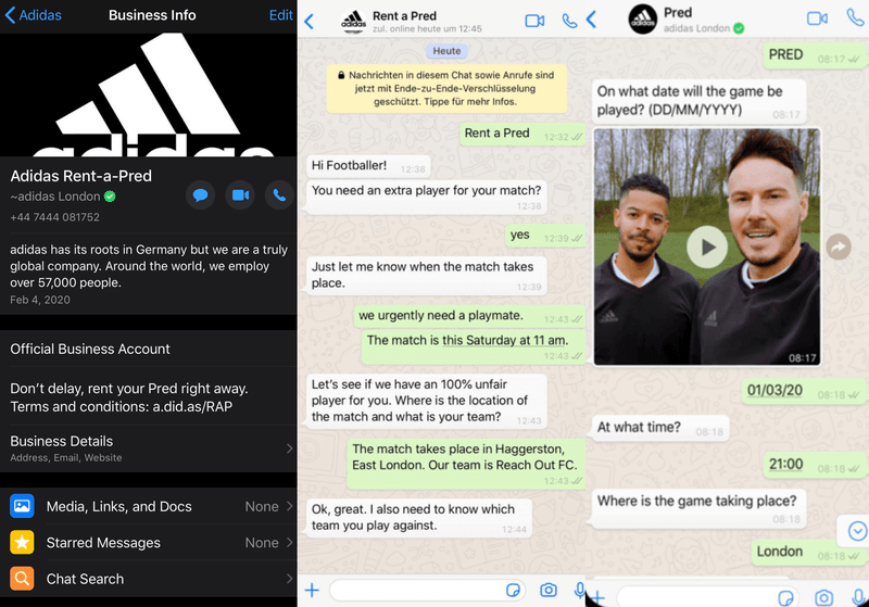 This is a picture of the WhatsApp business info page and screenshots of 2 chat conversations with Adidas Rent-a-Pred WhatsApp hotline. Adidas has launched the Rent-a-Pred WhatsApp marketing campaign to promote the new Predator20 Mutator footwear. It helps amateur football teams to find replacements when a teammate drops out last minute.