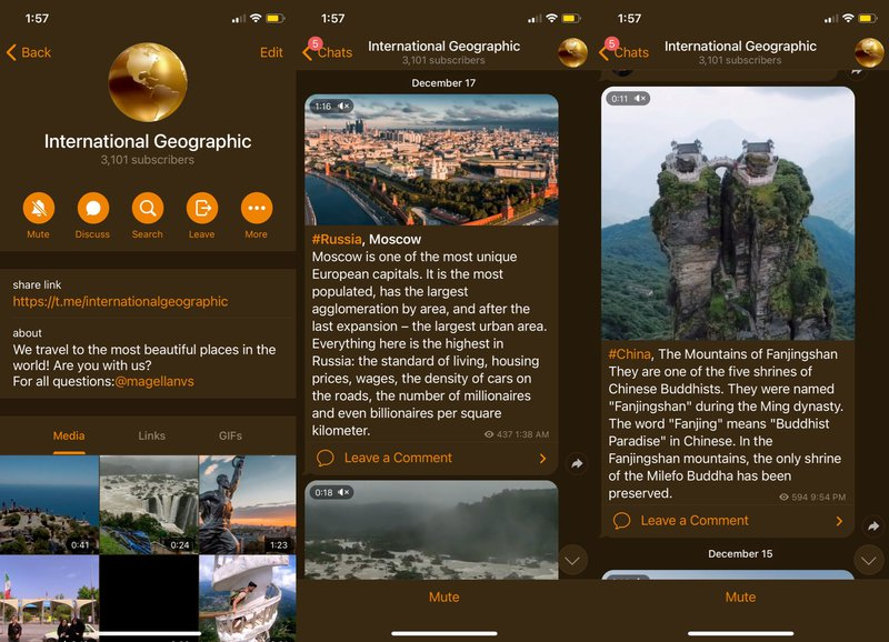 This is a picture of the International Geographic Telegram Channel. Check out our blog for more top Telegram Channels and learn how does telegram channel work