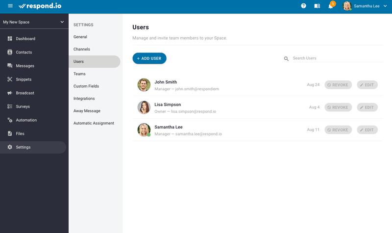 Esta es una imagen que muestra la función de múltiples usuarios de WhatsApp Business. Respond.io te permite utilizar WhatsApp Business para múltiples usuarios y dispositivos. Puedes colaborar fácilmente con tus compañeros de equipo invitándolos a la plataforma.