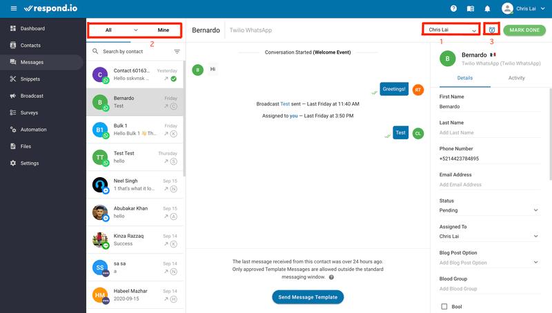 Esta es una captura de pantalla que muestra cómo utilizar Respond.io con la integración de WhatsApp para las ventas. Puede utilizar herramientas como Asignación de contactos (1), Vista de contactos (2) y Snooze (3).
