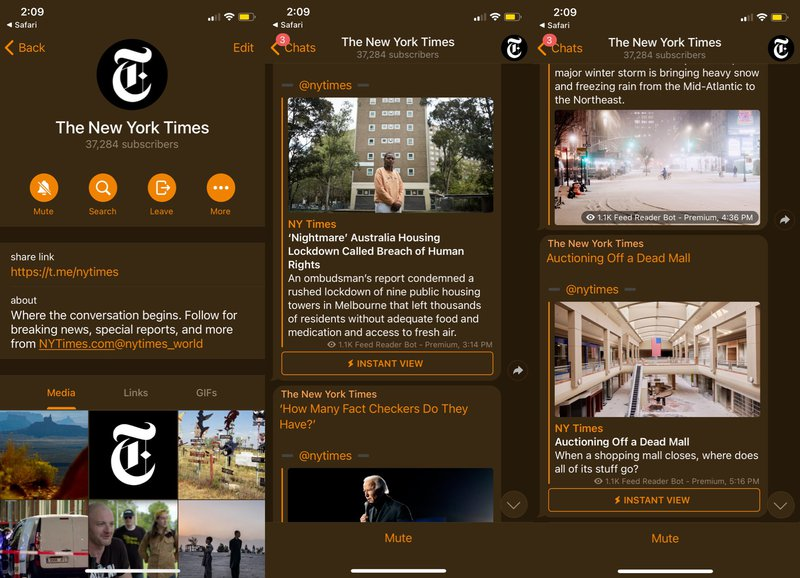 This is a picture of the New York Times Telegram Channel. Check out our blog for more top Telegram Channels and learn the benefits of telegram channel