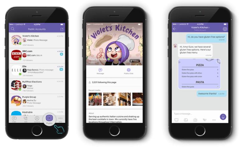 Las cuentas públicas de Viber se crearon para que las empresas pudieran utilizar Viber para empresas.