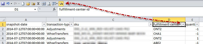 Fulfilment centers ID report