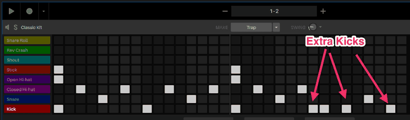 hip hop drum pattern with extra kicks
