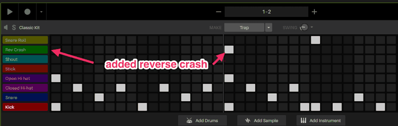 hip hop drum pattern with reverse crash