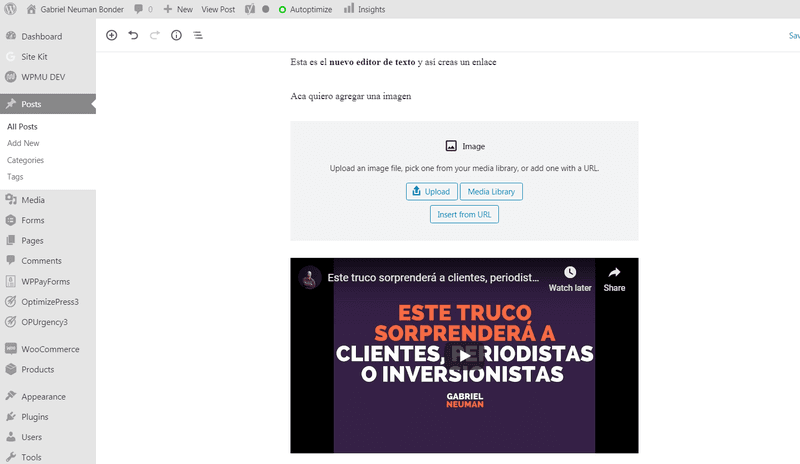 Agregando vídeos a WordPress