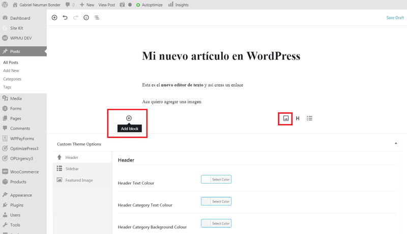 Agregar imagen a publicación en WordPress