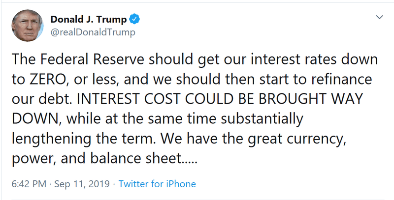 Trum tweets about zero interest rates in the US
