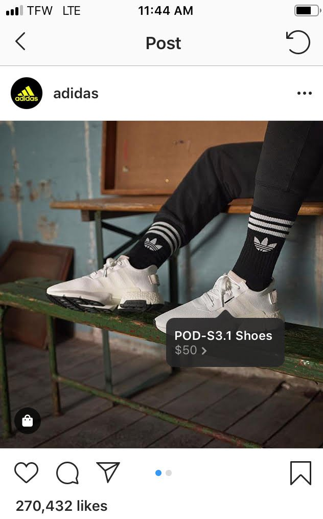 Adidas Instagram with shopping tags