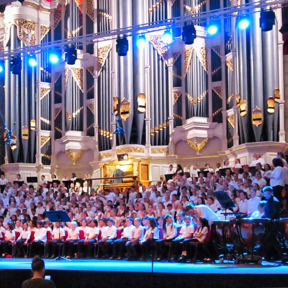 Singing in the Combined Schools Concert, Town Hall, Sydney.