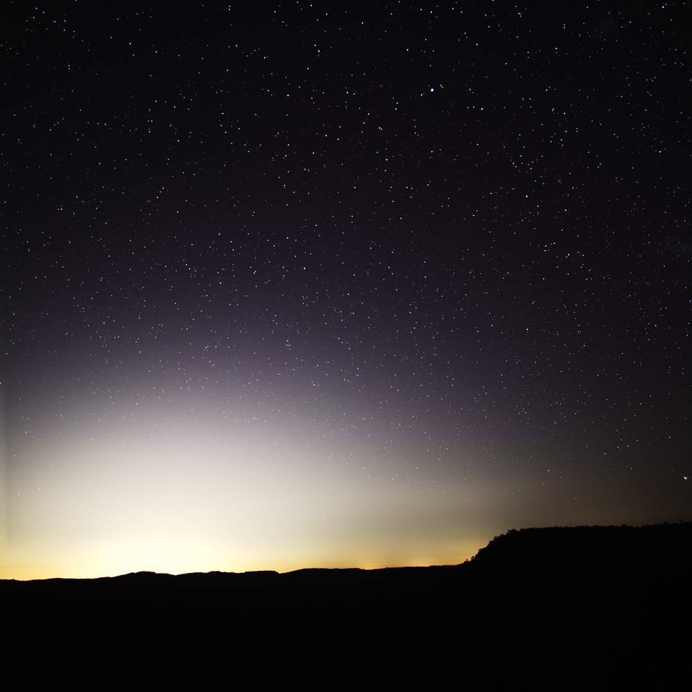 Stacked astro-photography experiment at Govett's Leap, Blackheath.