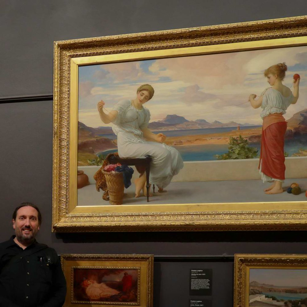 Stephen with his favourite artist, Lord Frederick Leighton.