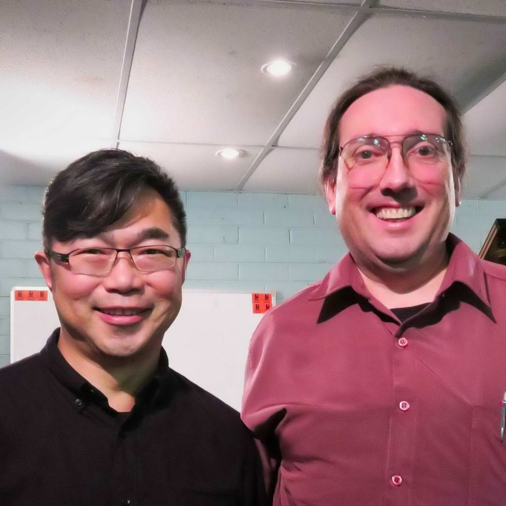 """Stephen with Sonny Chua, who composed """"Hoonmobile"""", Day In The Life Of A T-Rex"""", and Bogus Boogies!"""