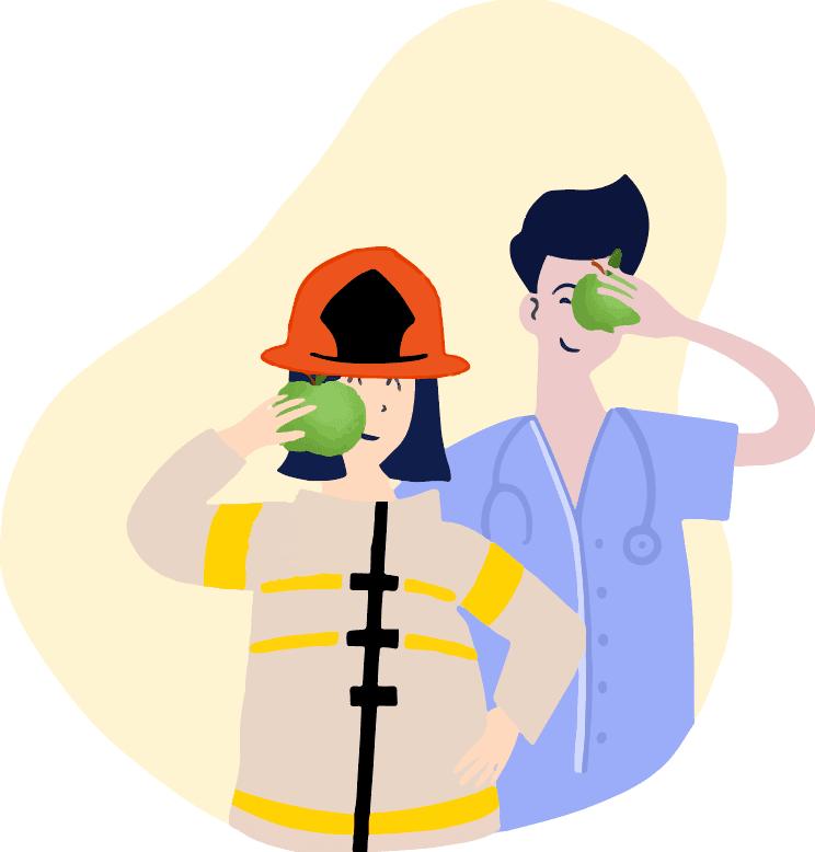 Boostbox campagnebeeld: brandweervrouw en dokter met een appel voor hun gezicht