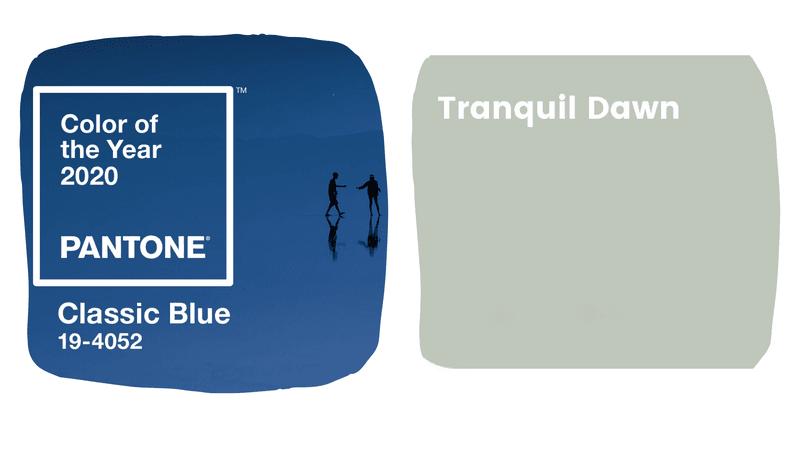 Kleuren van 2020: Classic blue van Pantone en Tranquil Dawn van Levi's