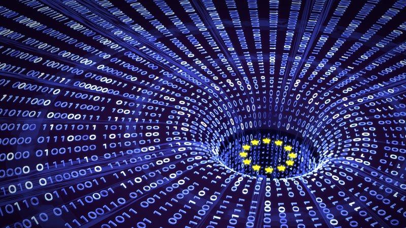 EU GDPR data bytes falling into a wormhole with EU stars
