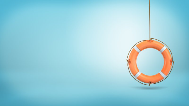 3d rendering of a single orange life buoy hangs down from a rope on a blue background. Life and death situation. Business help. Insurance service.