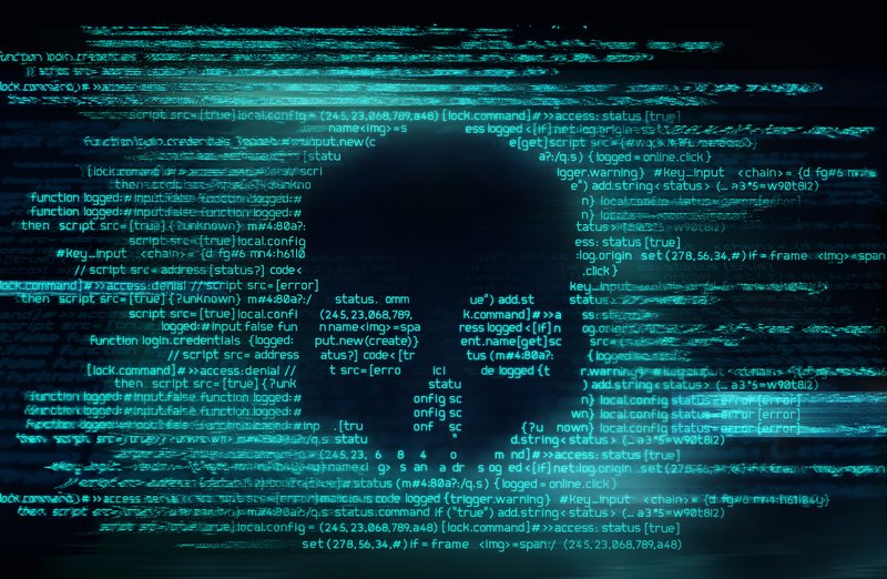 Malicious computer programming code in the shape of a skull. Online scam, hacking and digital crime background 3D illustration