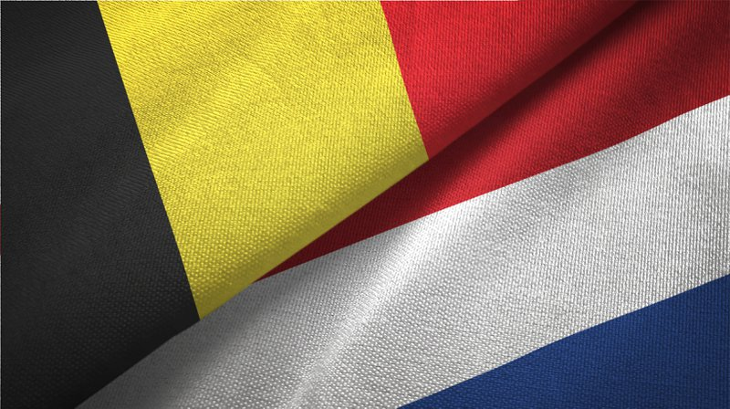 Netherlands and Belgium flag together realtions textile cloth fabric texture