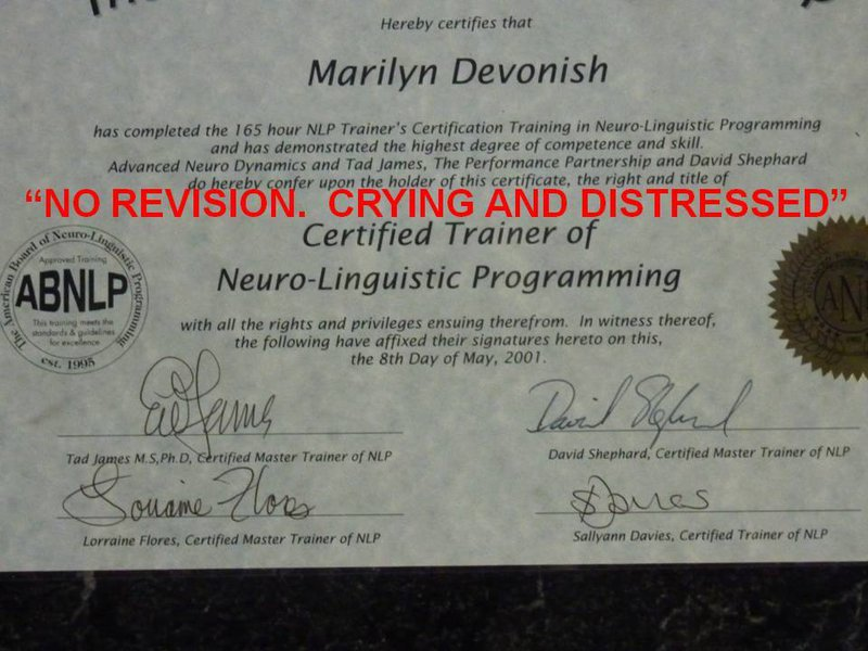 My NLP Trainers Training Certificate
