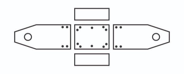 Skizze von der Anordnung der einzelnen Elemente für die Werkzeugkiste und Markierung der Vorbohrungen
