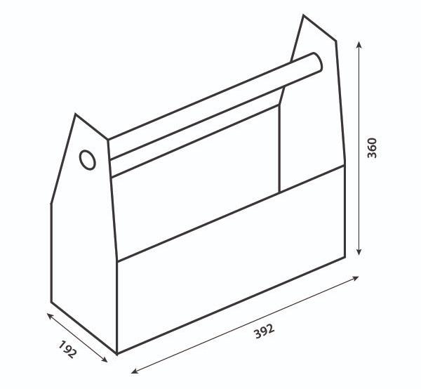 Skizze von der zusammengebauten Werkzeugkiste mit Maßangaben