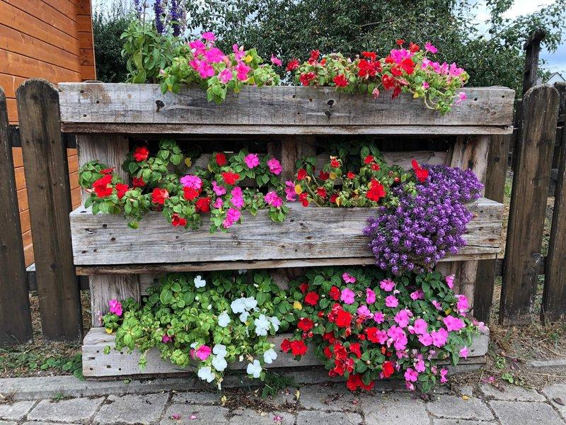 Balkon Ideen: Blumenregal aus einer alten Europalette