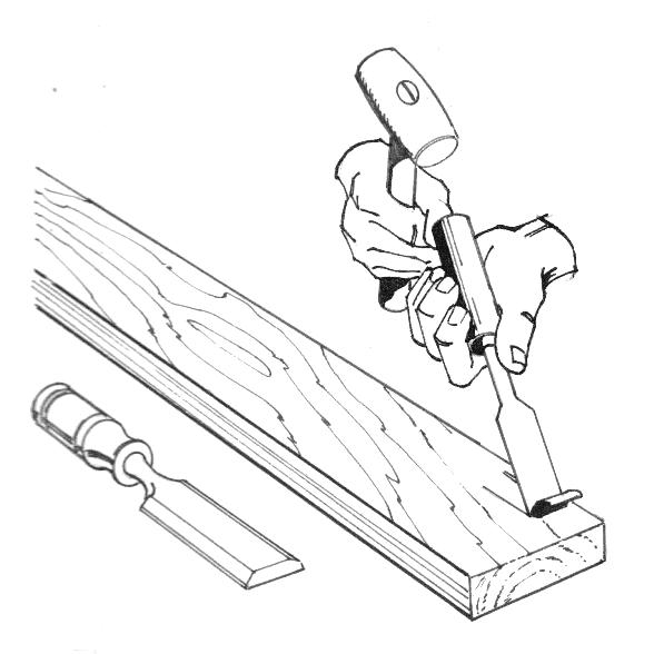 Ein Stechbeitel bzw. Stemmeisen im Einsatz
