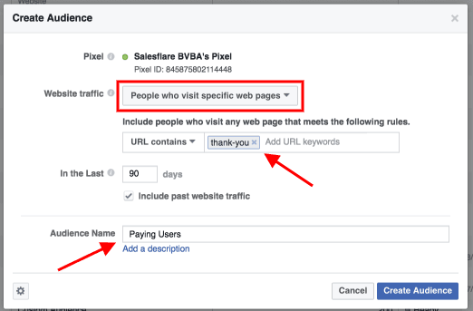 Screenshot showing how to automate sales outreach using Facebook Lookalike audiences
