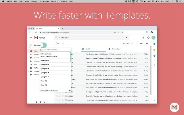Mailbutler templates for Gmail emails