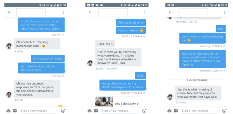 Screnshot showing how we automate sales outreach on Twitter by following up on a bot message