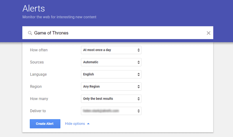 A screenshot of Google Alerts
