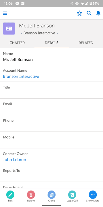 contact details on mobile in salesforce