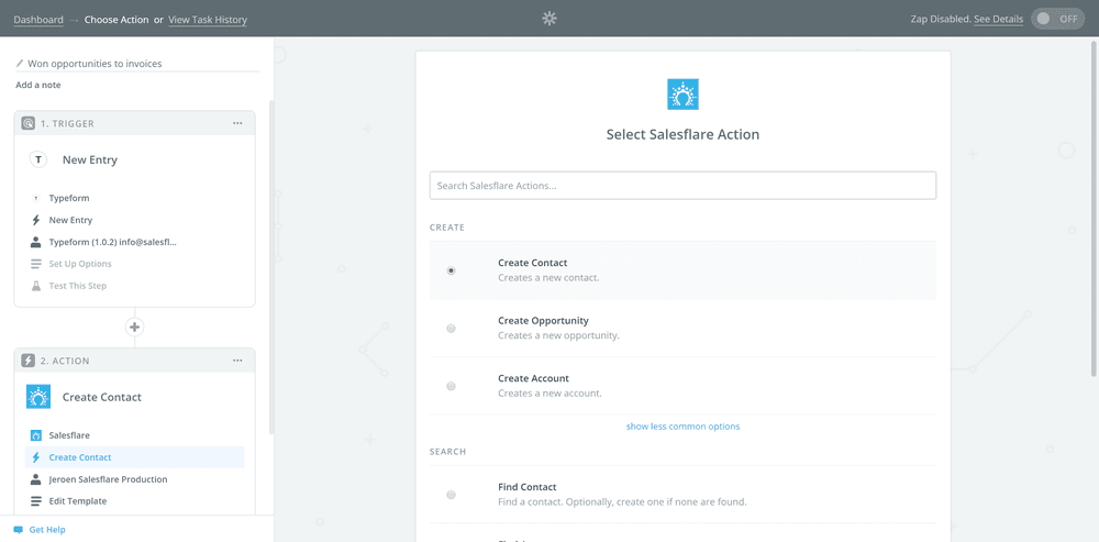 A screenshot showing how to integrate sales tools: Typeform connected with Salesflare