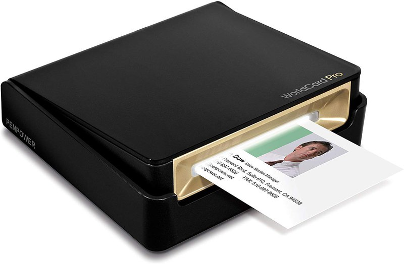 PenPower WorldCard Pro Business Card Scanner machine scanning a business card