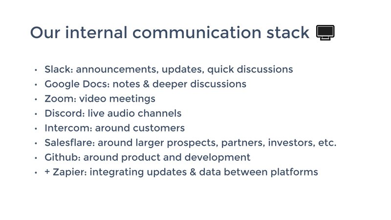 a list of salesflare's internal communication stack