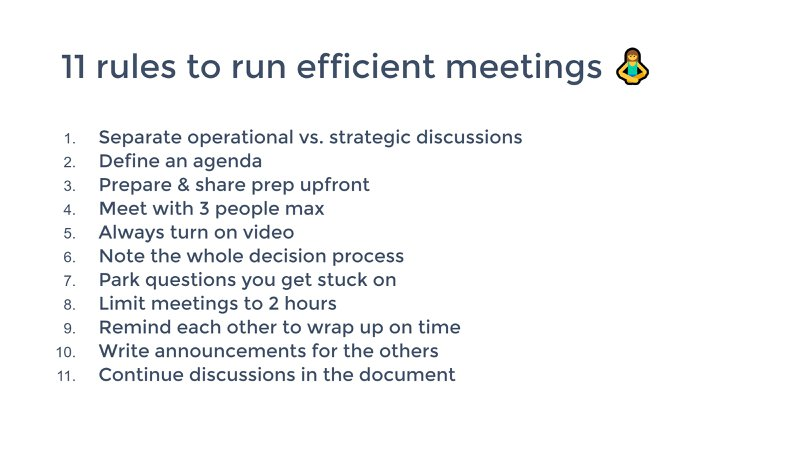 a list of rules to run efficient meetings