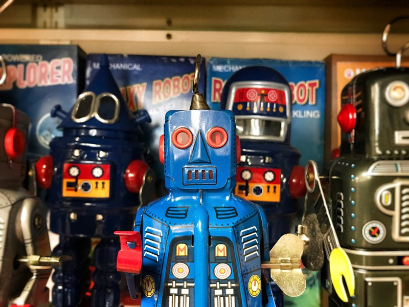 Toy robots at a collectible toy store in Mt. Airy, MD