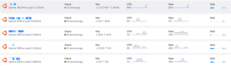 Snapshot of the Uptime360 Server summary page