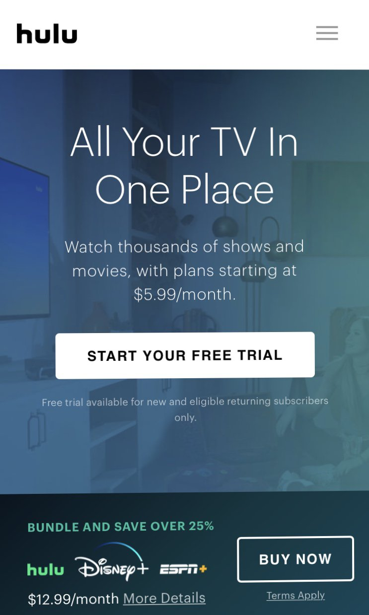 copywriting for conversion rate optimization hulu example