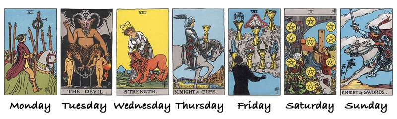 http://Days of the Week Tarot spread by Aingeal Rose