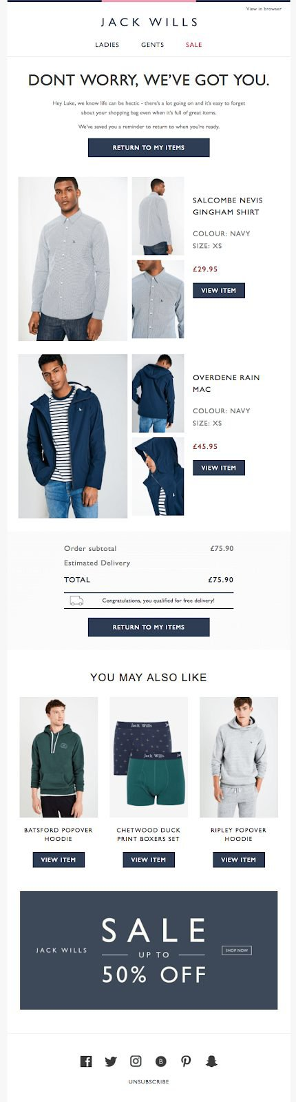 E-mail Marketing Example - Jack Wills
