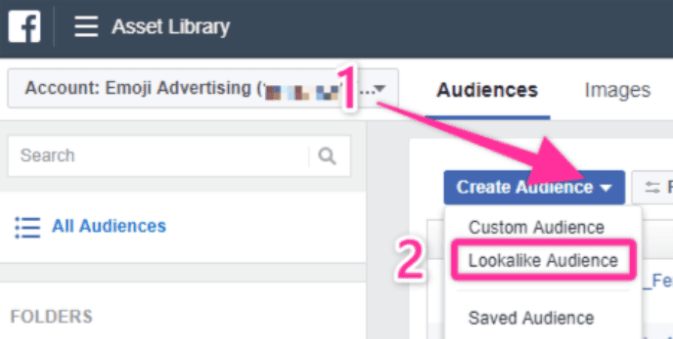 Go to 'Create Audience' and select 'Lookalike Audience.' Helping you as digital marketing consultants