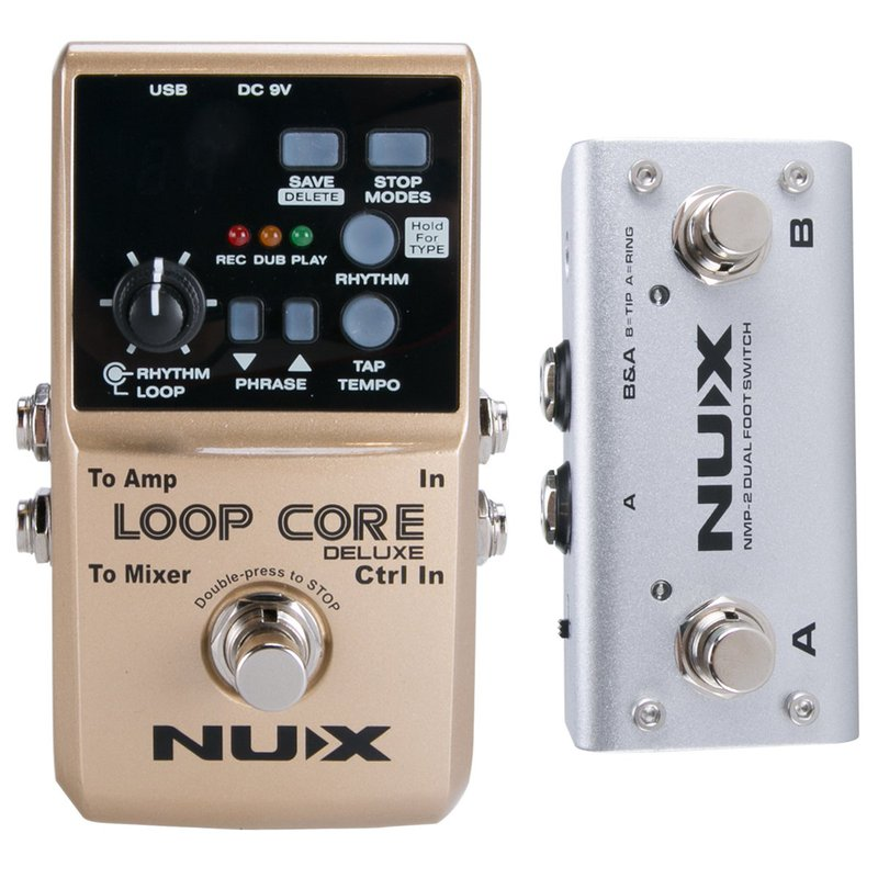 NUX Loop Core Deluxe Guitar Looper 8 hours Loop Time,24-bit Audio, Automatic Tempo Detection with Footswitch