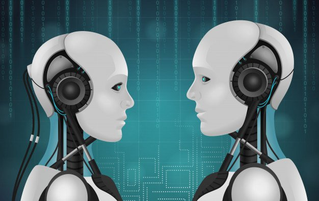 chatbot marketing depicted as two robotic AI's chatting with eachother