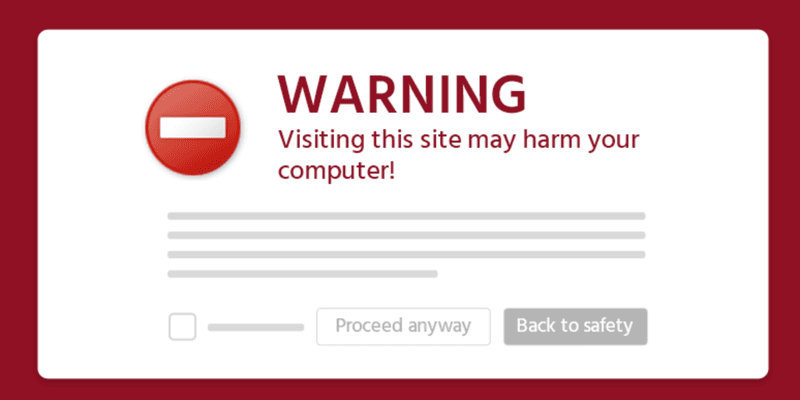 This Site May Harm Your Computer Warning Message