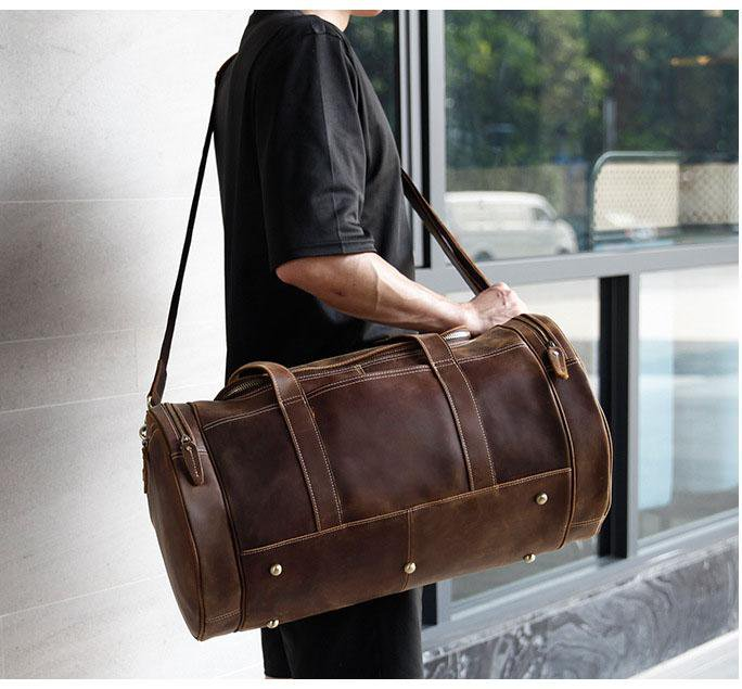 top grain leather duffel bag