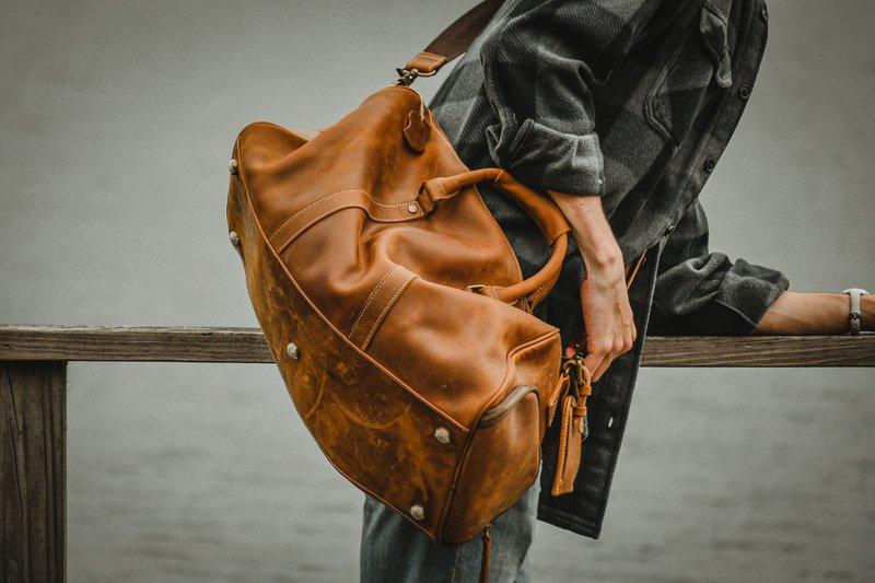 Large Leather Duffle Bag