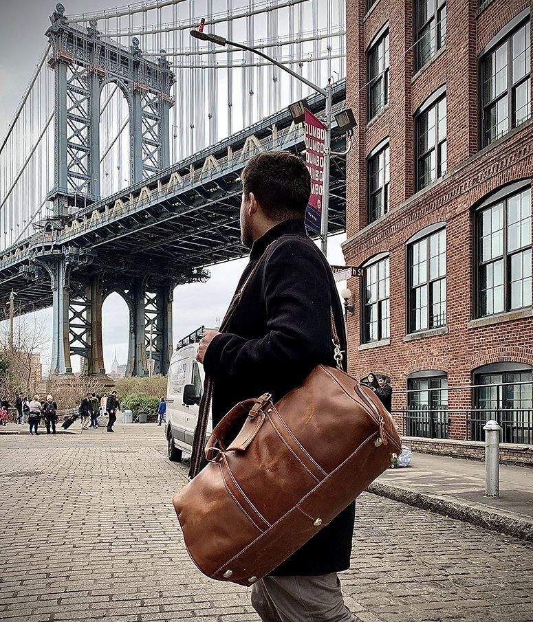 Handmade Large Leather Duffle Bag